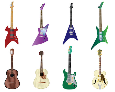 Set of full color acoustic and electro guitars  Vector