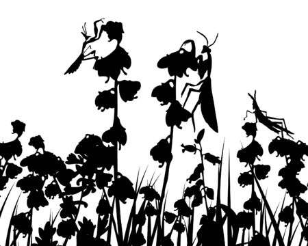 Vector grass silhouettes backgrounds with insects Stock Vector - 4343327