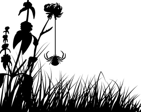 Vector grass silhouettes backgrounds with insects Stock Vector - 4343321