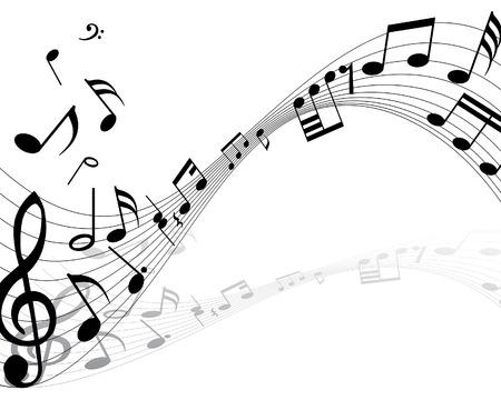 viertelnote: Musiknote Zeug Vektor Hintergr�nde mit Notizen und Linien