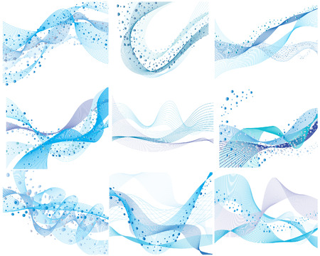 Set of nine abstract vector water background Stock Vector - 4383759