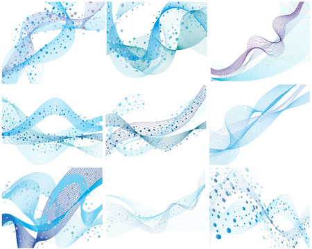 sky line: Set of nine abstract vector water background