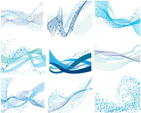 splashing water: Set of nine abstract vector water background