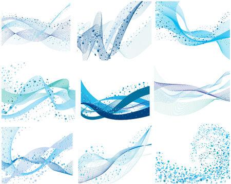 fresh water splash: Set von neun abstrakte vektor Hintergrund Illustration