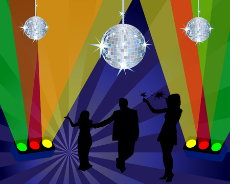 Abstract night club dancing scene with light and disco spheres Stock Vector - 4383752