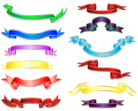tape line: Set of different multicolor striped vector ribbons Illustration