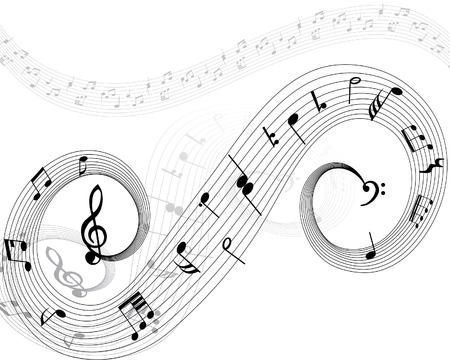 Musical note stuff  vector backgrounds with notes and lines Stock Vector - 4383740