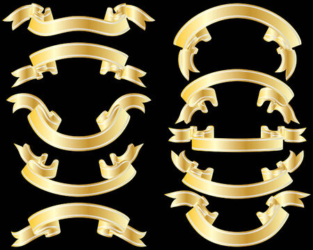 Set of golden striped ribbons on black background Stock Vector - 4383742