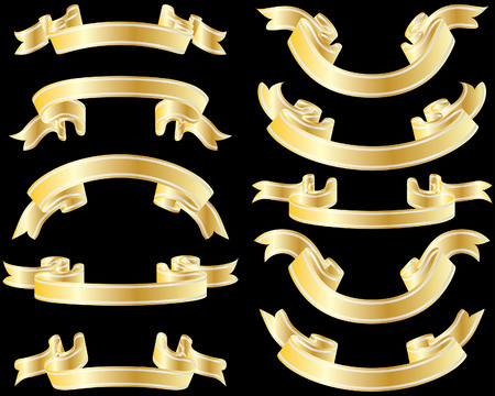 Set of golden striped ribbons on black background Stock Vector - 4383738