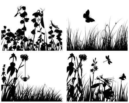 Set of four vector grass silhouettes backgrounds  Stock Vector - 4455170