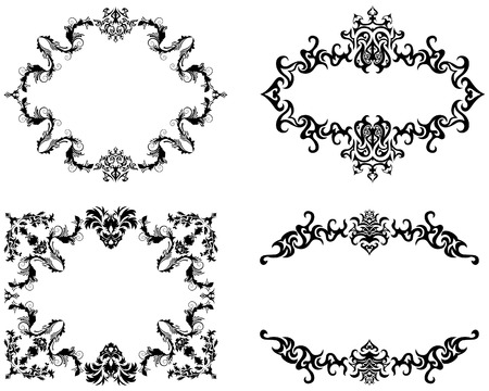 Abstract floral vector frame backgrounds set in Victorian style Stock Vector - 4455206
