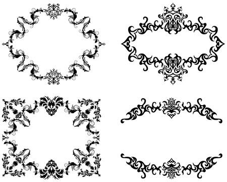floral vector: Resumen vector floral antecedentes marco establecido en el estilo victoriano