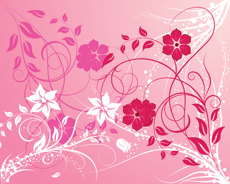 Floral vector background with leaves and flowers Stock Vector - 4455202