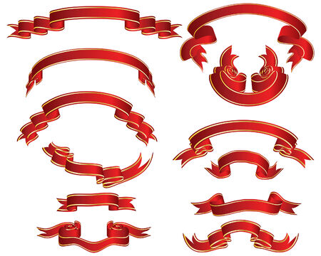 heading the ball: Set of different vector ribbons on white background