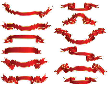 Set of different vector ribbons on white background Stock Vector - 4455156