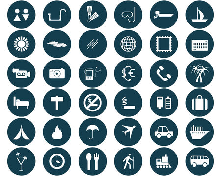 photo icons: Biggest collection of different travel icons for using in web design Illustration