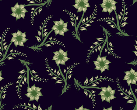 Floral seamless background for yours design use. For easy making seamless pattern just drag all group into swatches bar, and use it for filling any contours. Stock Vector - 4455260