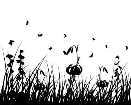 Vector grass silhouettes backgrounds with insects Stock Vector - 4455231