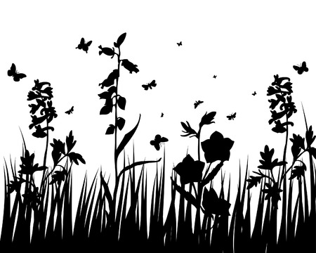 Vector grass silhouettes backgrounds with insects Stock Vector - 4455230