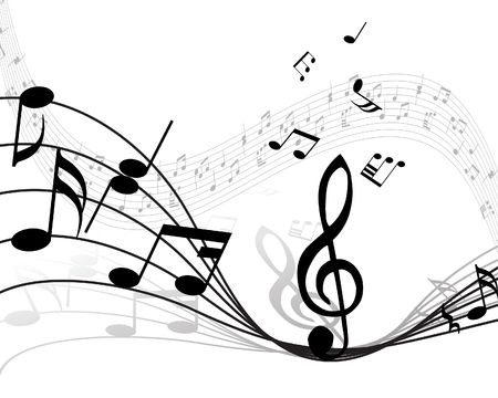 Musical note stuff  vector backgrounds with notes and lines Stock Vector - 4455237