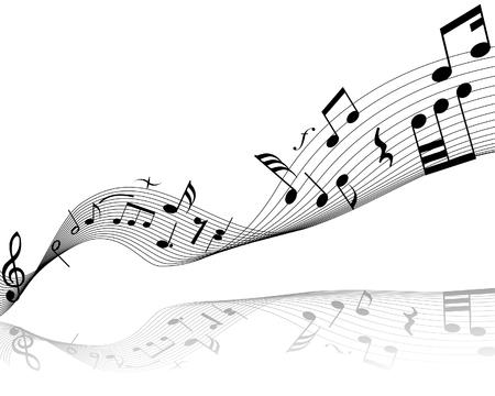 musical note: Nota musical cosas con antecedentes de vectores y l�neas de notas
