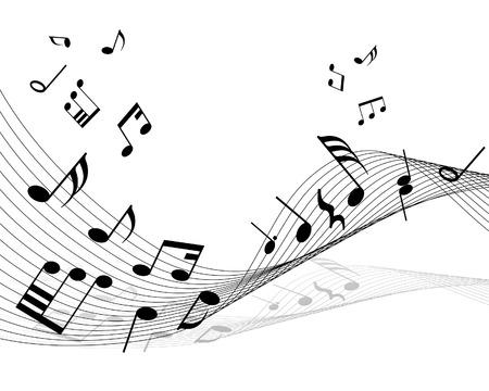 楽器: メモとラインで音符のもののベクトルの背景