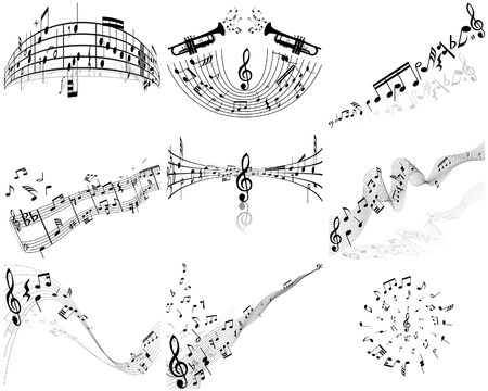 musical instrument parts: Set of  nine vector musical notes staff