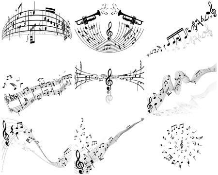 blatt: Set von neun Vektor Noten Personal Illustration