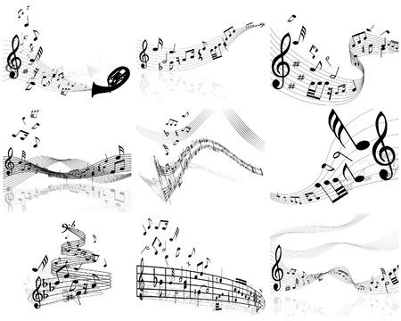 notas musicales: Conjunto de nueve notas musicales del personal de vectores