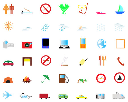 Biggest collection of different travel icons for using in web design Stock Vector - 4501798