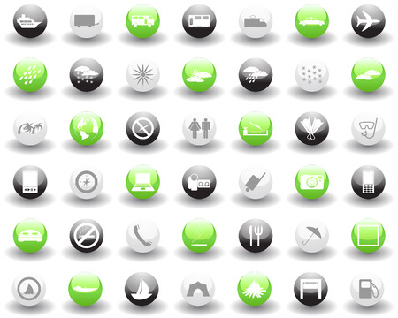 travel phone: Biggest collection of different travel icons for using in web design Illustration