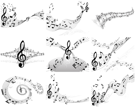 minims: Set of  nine vector musical notes staff