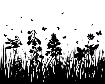 Vector grass silhouettes backgrounds with insects Stock Vector - 4522176