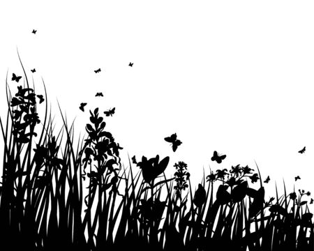Vector grass silhouettes backgrounds with insects Stock Vector - 4522180