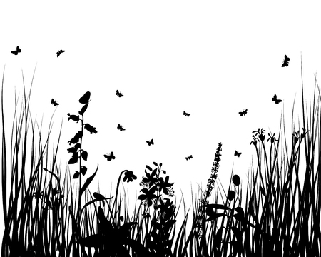 Vector grass silhouettes backgrounds with insects Stock Vector - 4522179