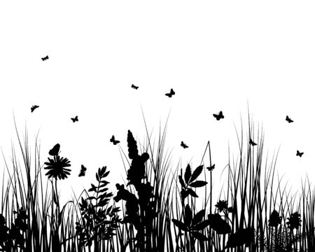 Vector grass silhouettes backgrounds with insects Stock Vector - 4522182