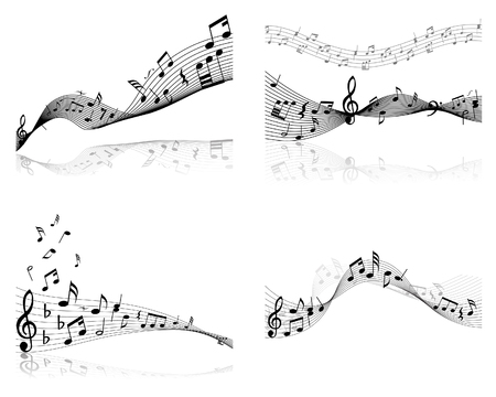 crotchet: Set of four vector musical notes staff