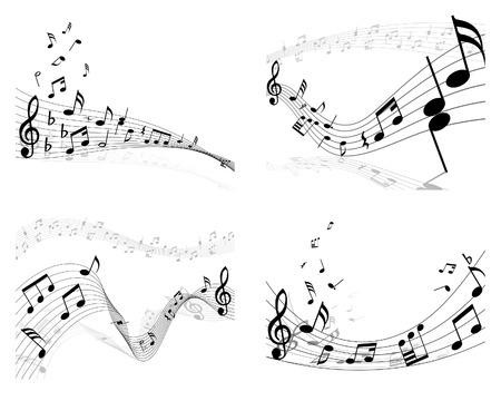 viertelnote: Satz von vier Vektor-Noten-Mitarbeiter  Illustration