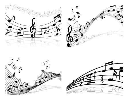 minims: Set of four vector musical notes staff