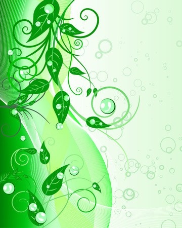 leafs: Green floral vector background for design use
