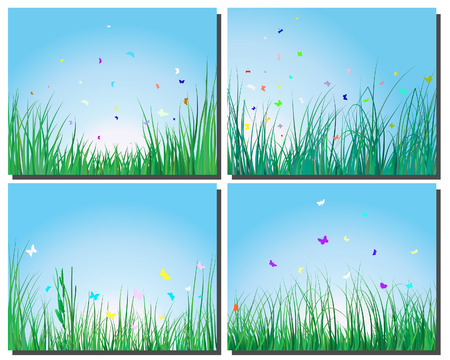 Set of four vector grass silhouettes backgrounds  Vector