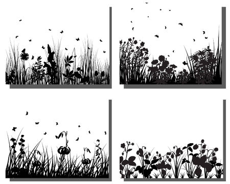 Set of four vector grass silhouettes backgrounds Stock Vector - 4584570