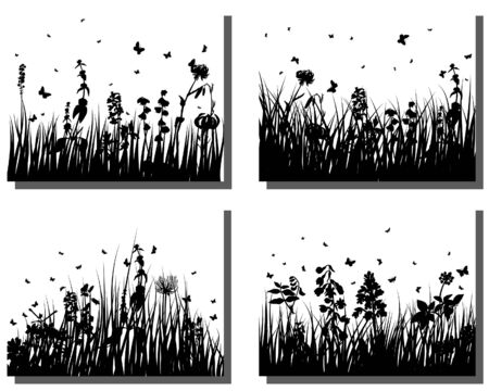 Set of four vector grass silhouettes backgrounds Stock Vector - 4584567