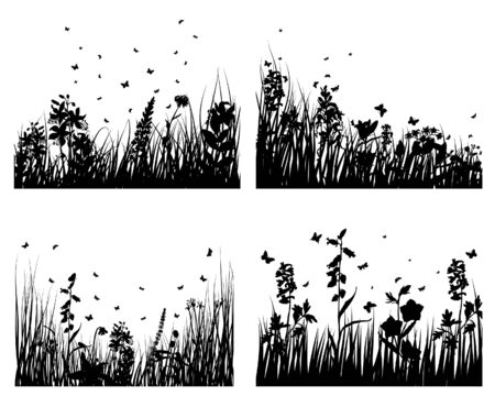 Set of four vector grass silhouettes backgrounds Stock Vector - 4584568