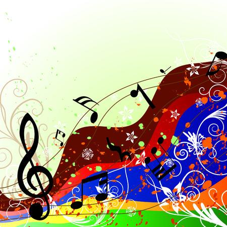 pentagrama musical: Grunge vector notas musicales de antecedentes para el dise�o uso Vectores