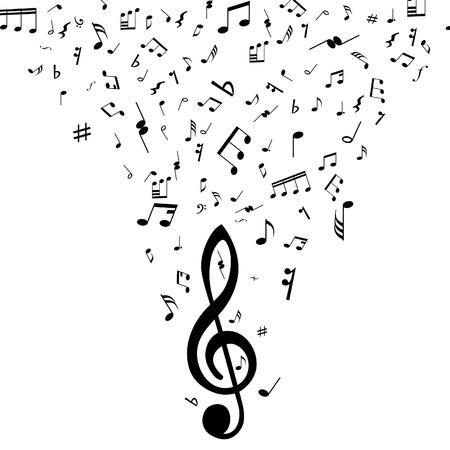 simbolos musicales: Grunge vector notas musicales de antecedentes para el dise�o uso Vectores