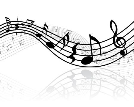 note musicali: Grunge vettore note musicali di fondo per la progettazione uso