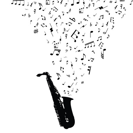 sax: Grunge vector musical notes background for design use