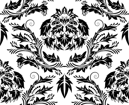 Damask seamless background for yours design use. For easy making seamless pattern just drag all group into swatches bar, and use it for filling any contours. Vector