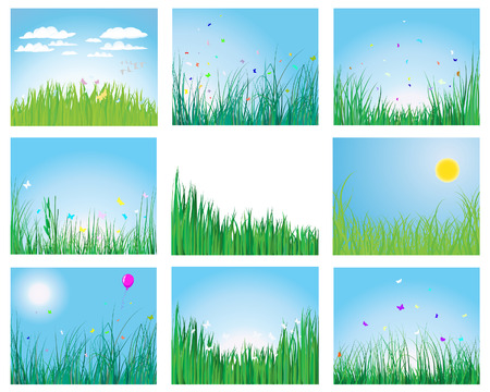 Set of vector grass silhouettes backgrounds for design use